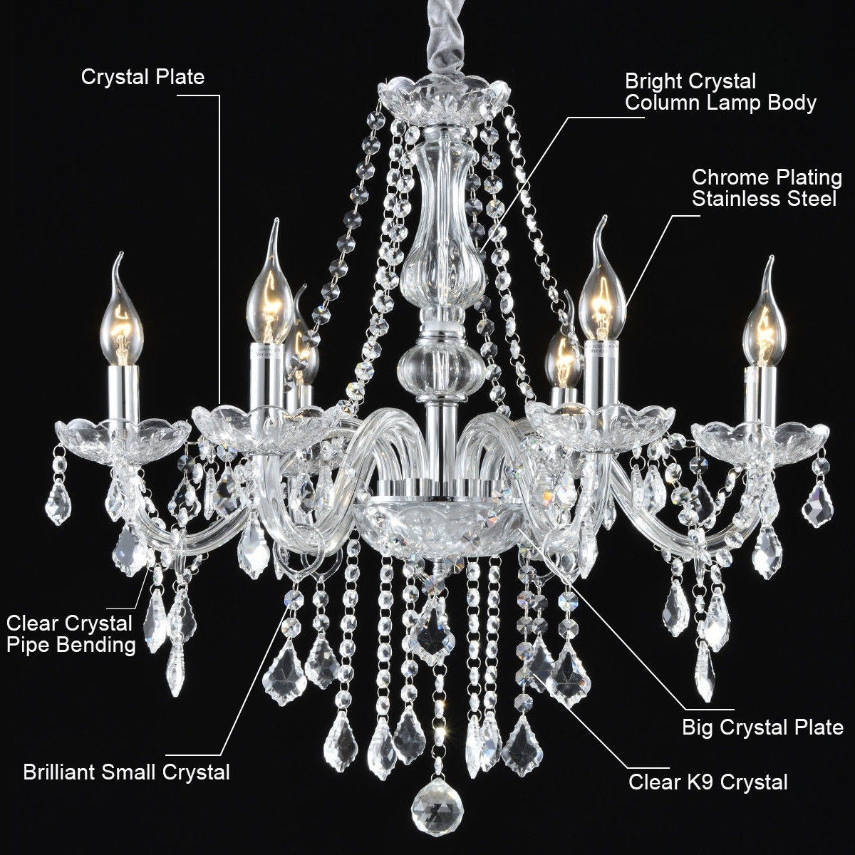 Costway elegant crystal chandelier modern 6 ceiling light lamp costway elegant crystal chandelier modern 6 ceiling light lamp pendant fixture lighting free shipping today overstock 24429974 arubaitofo Choice Image