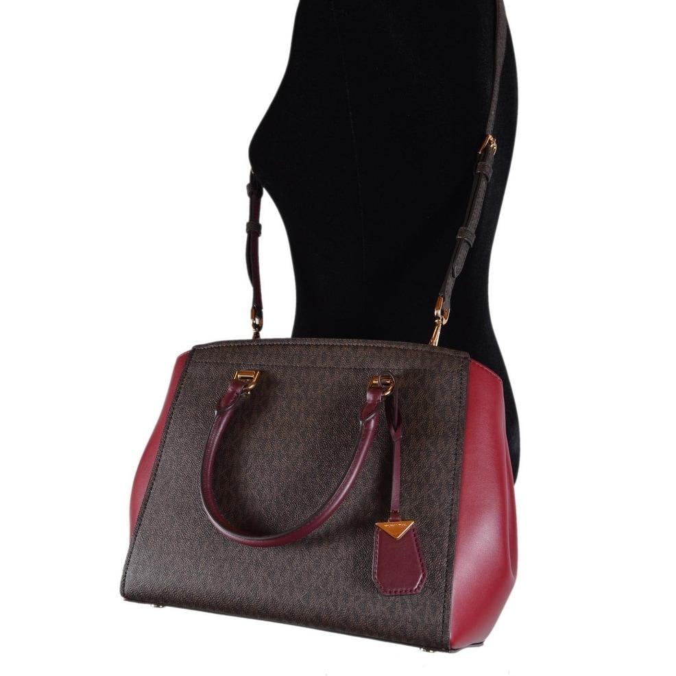 fcf0384f5db1 Shop Michael Kors Large Brown Burgundy Logo Benning Handbag Satchel W/Strap  - Free Shipping Today - Overstock - 25744492
