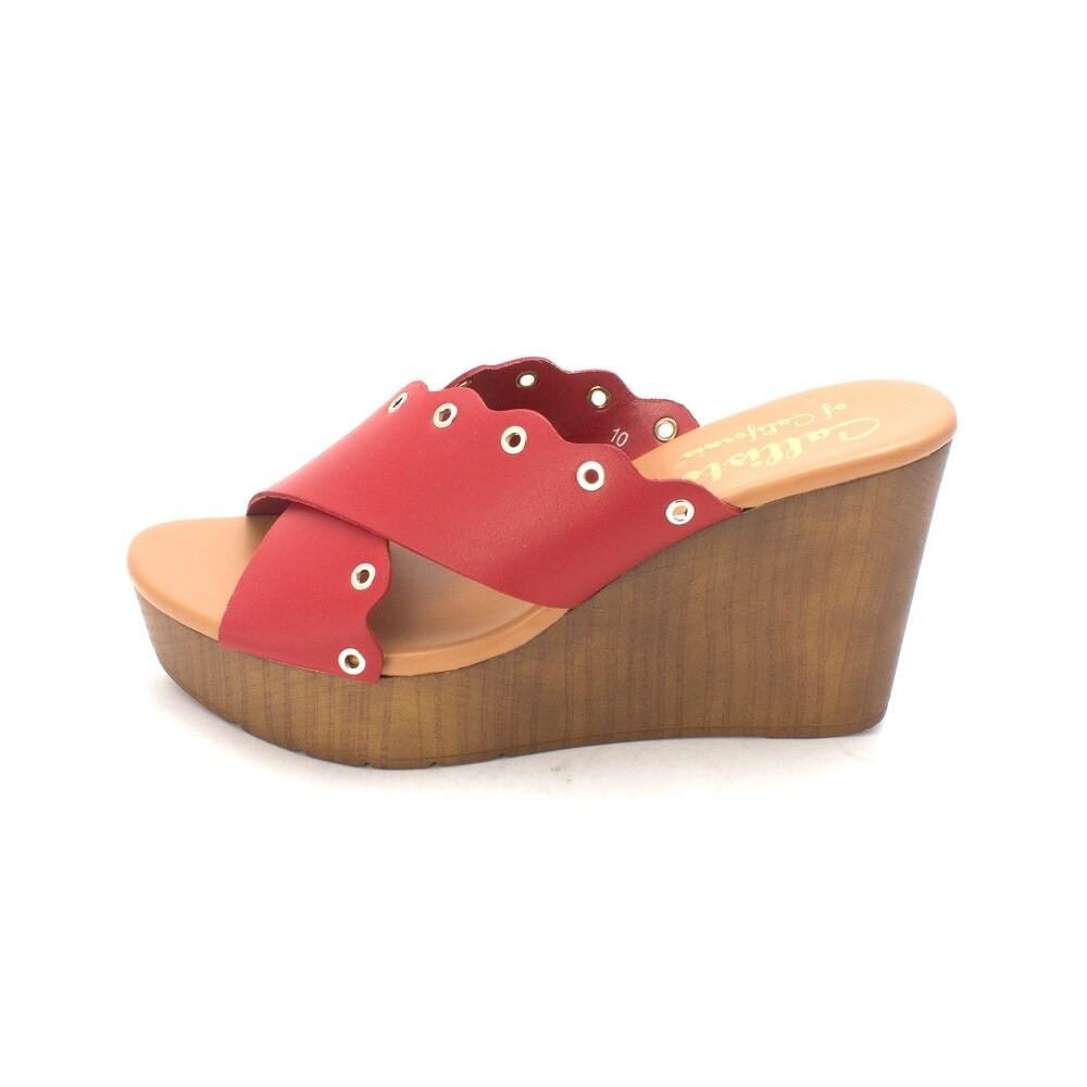 Callisto Womens Darcii Open Toe Casual Platform Sandals Red Size 100