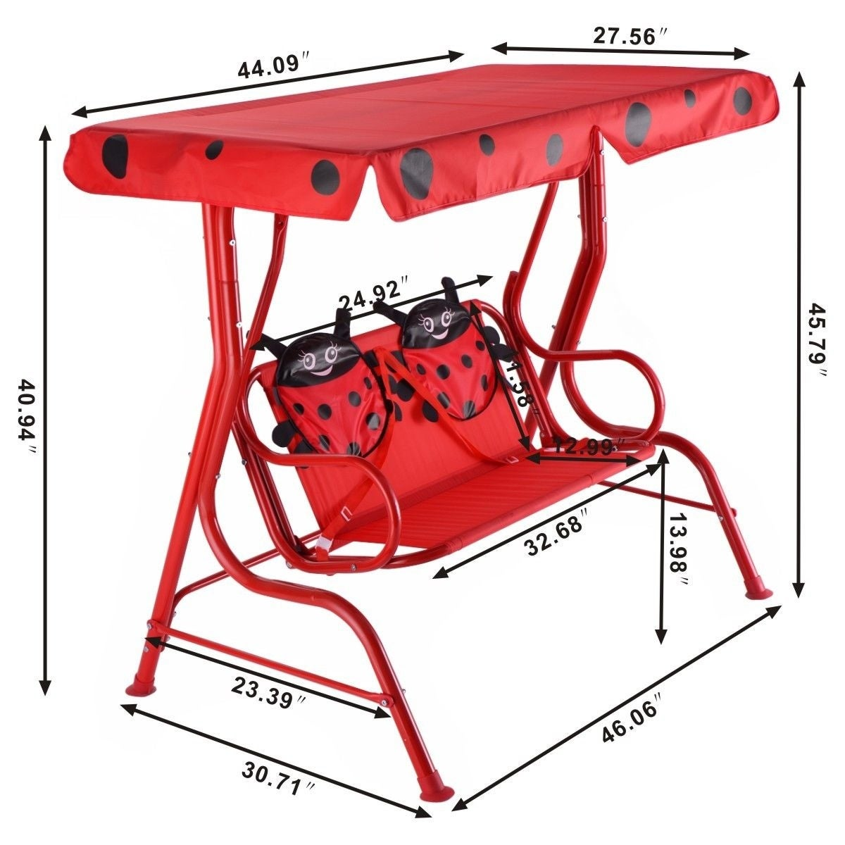 Costway Kids Patio Swing Chair Children Porch Bench Canopy 2 Person Yard  Furniture Red   Free Shipping Today   Overstock   23046320