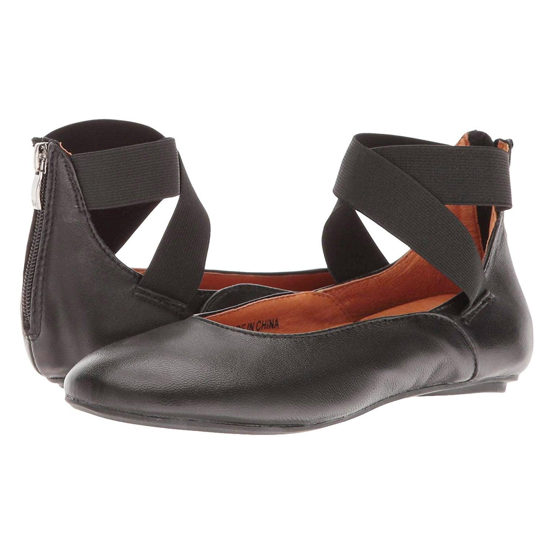 9e85e1249bc Shop Women s Arabesque Black Leather Ballet Flats - Strappy Zip ...