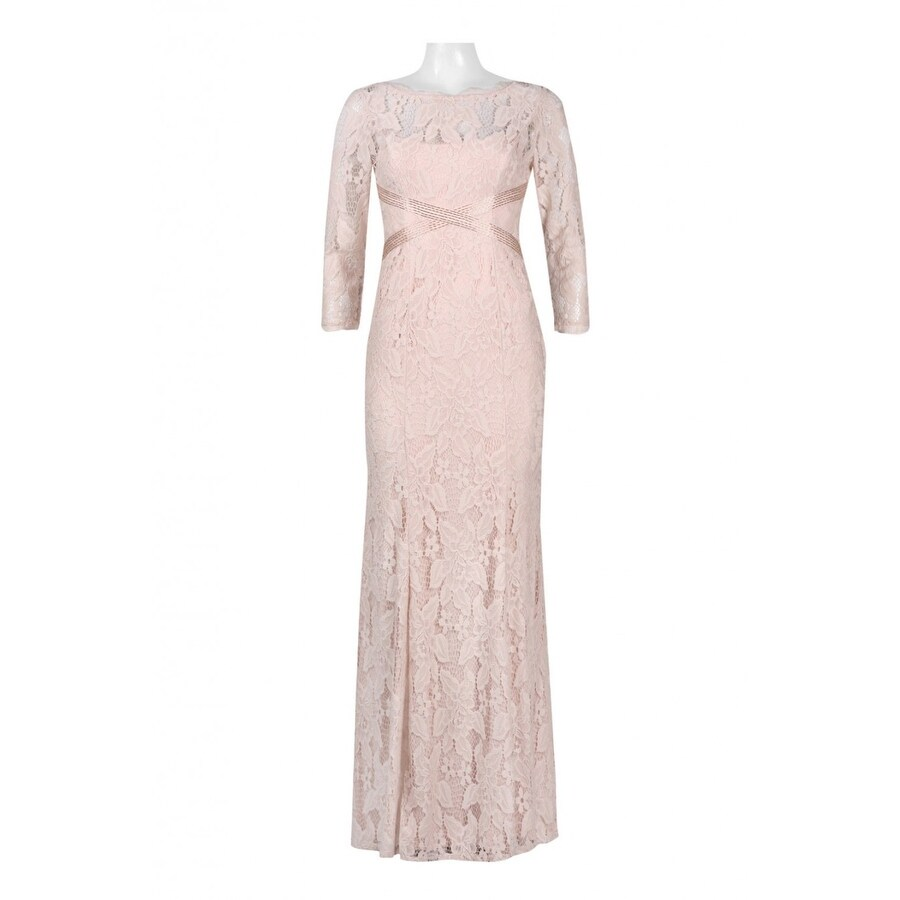 Shop Adrianna Papell Women\'s L/s Lace Gown With Beaded Detail - Free ...