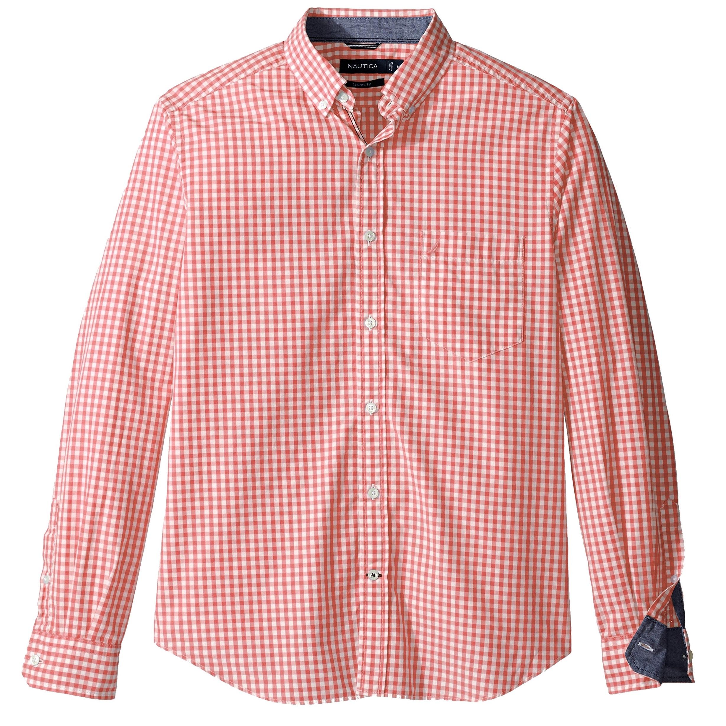 Shop Nautica Orange Mens Size 2xl Gingham Check Pocket Button Down