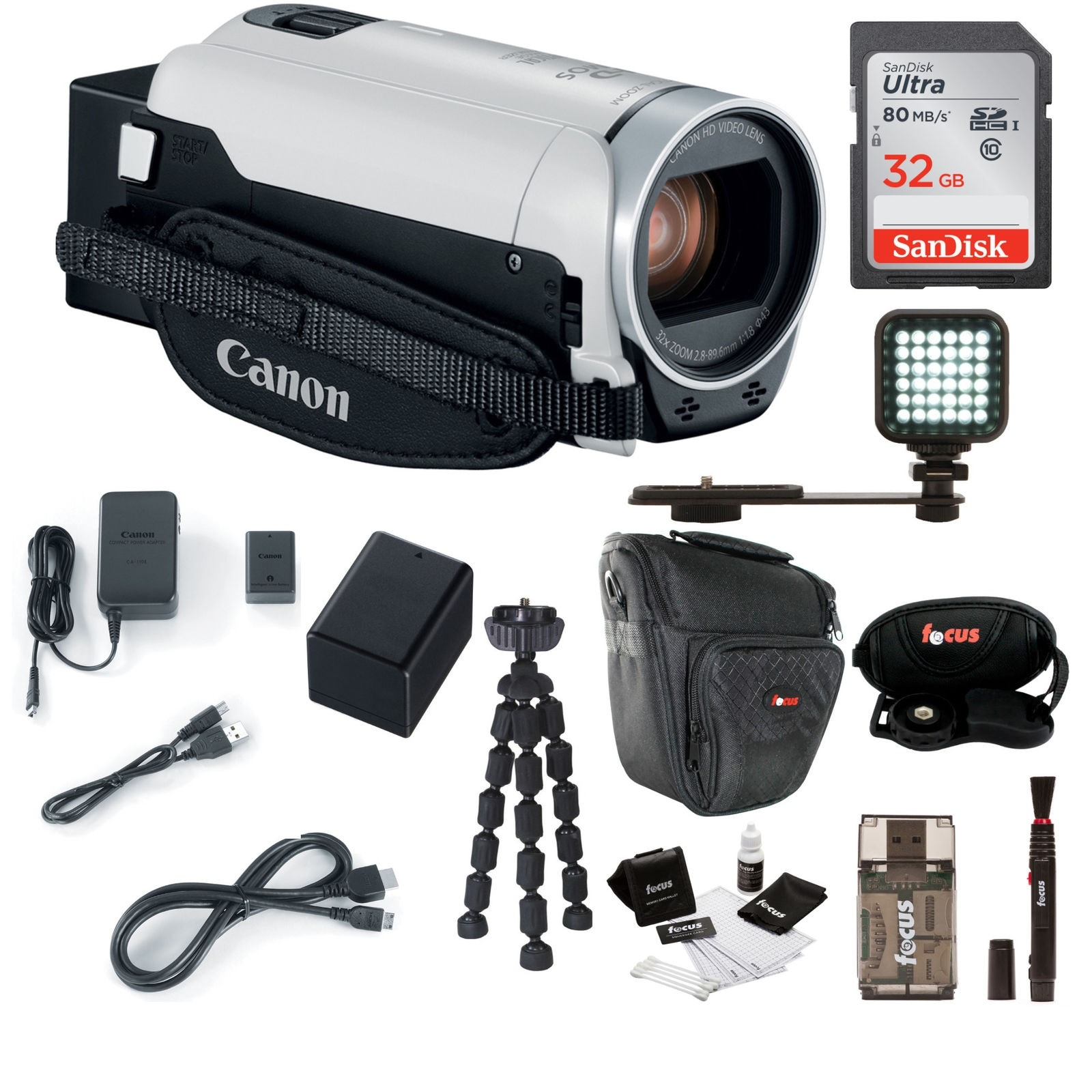 6401e4b74be Shop Canon VIXIA HF R800 Camcorder (White) with 32GB Supreme Bundle - Free  Shipping Today - Overstock - 20598021