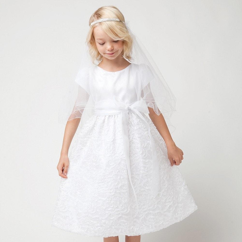 4f00cb15 Shop Sweet Kids White Sequin Organza Tea Length Communion Dress Girls 6-12  - Free Shipping Today - Overstock - 18166012