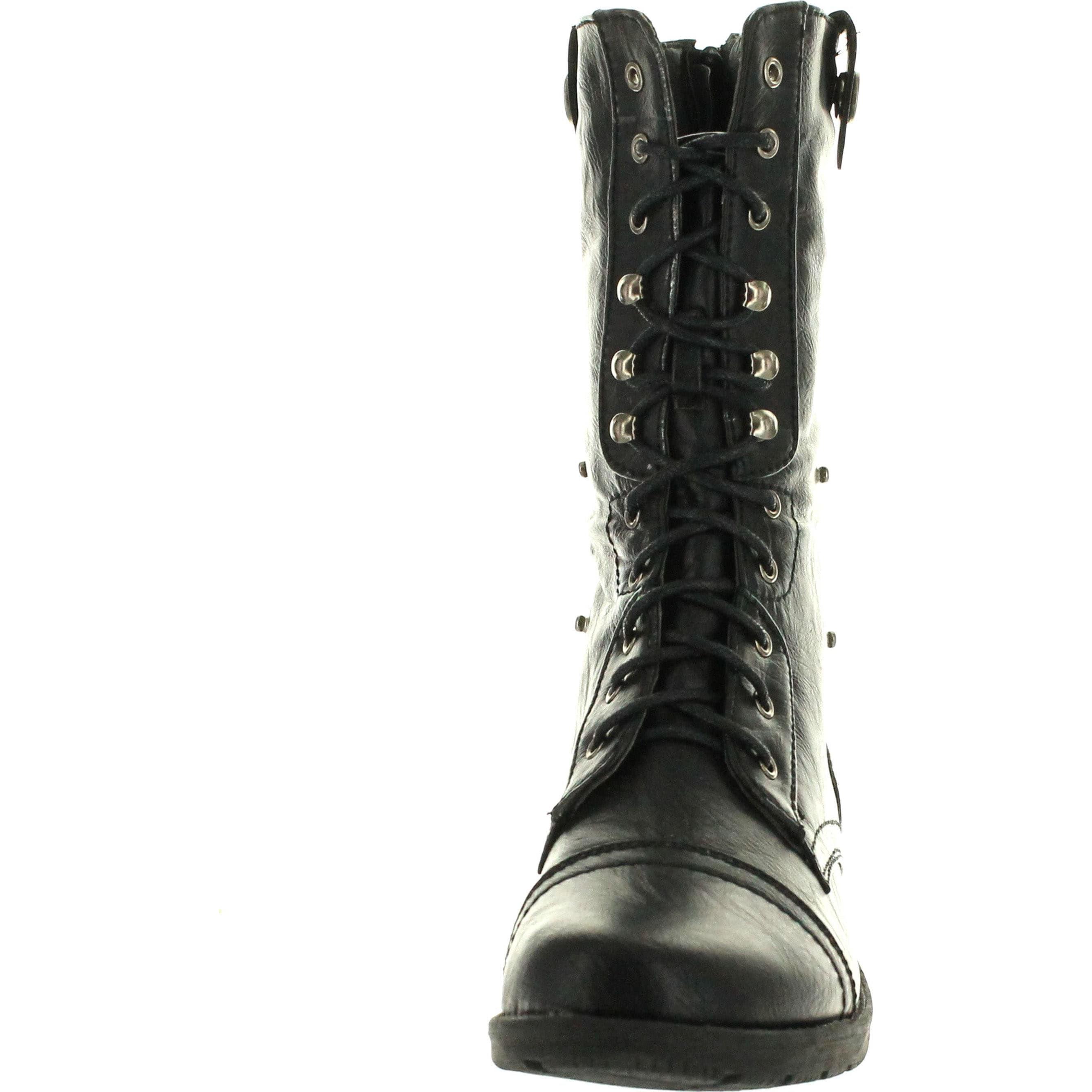 2b7fc67627f Reneeze Womens Dy-B1307 Foldable Lace Up Shaft Back Zipper Flat Heel  Mid-Calf Combat Riding Boots - Black Red