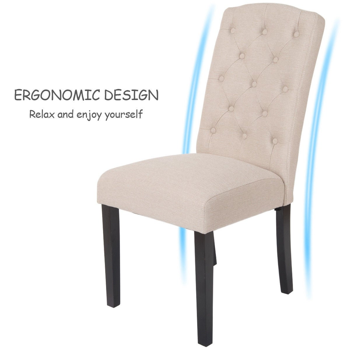 Shop Costway Set Of 2 Accent Dining Chair Fabric Wood Tufted Modern ...