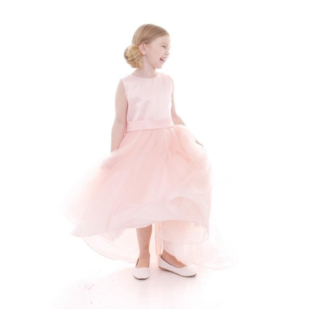 f8a71066aab2 Shop Petite Adele Girls Blush Satin Hi-Low Savannah Junior Bridesmaid Dress  - Free Shipping Today - Overstock - 18162037