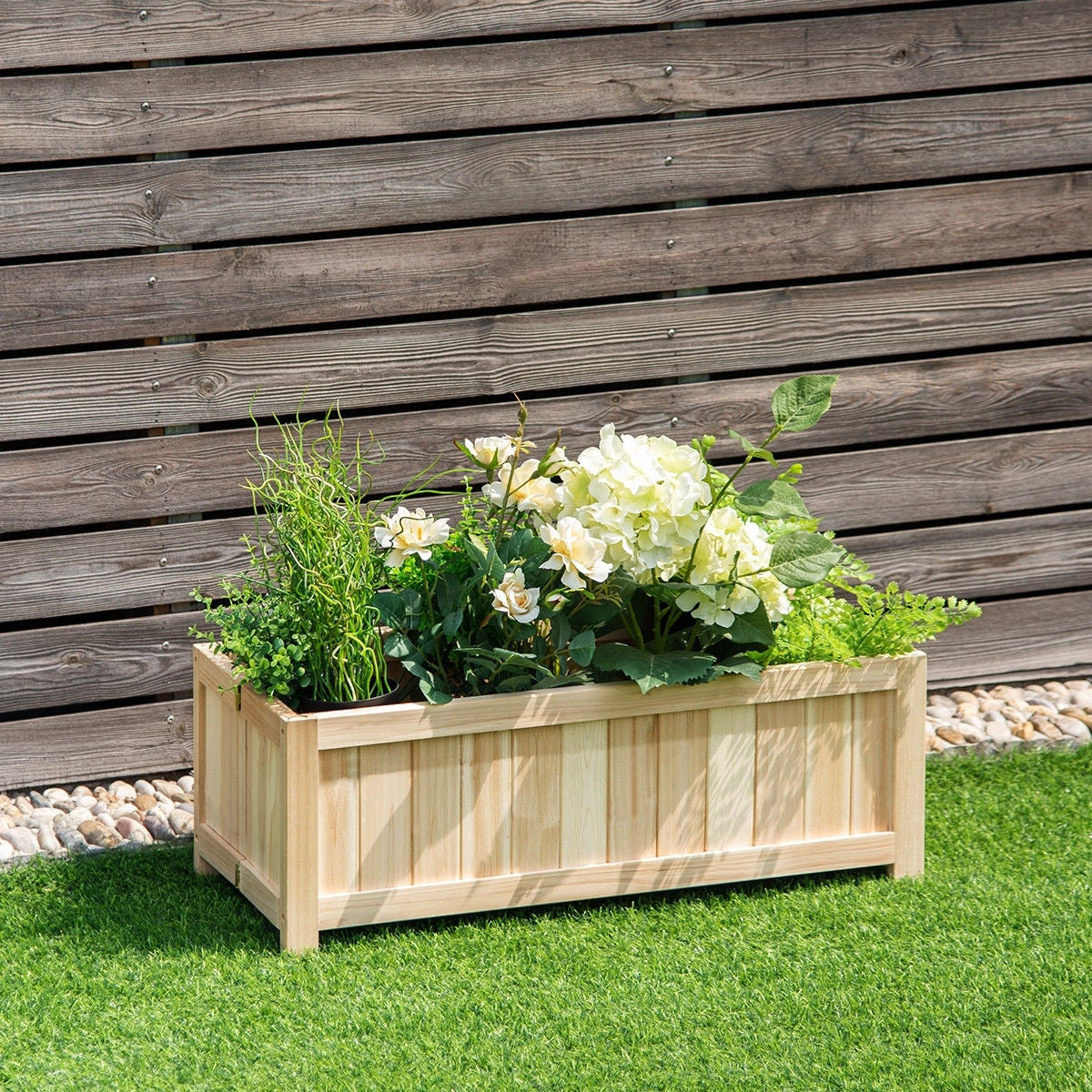 Shop Costway Rectangle Wood Flower Planter Box Portable Raised Vegetable Patio Lawn Garden folding - as pic - Free Shipping Today - Overstock - 22539587