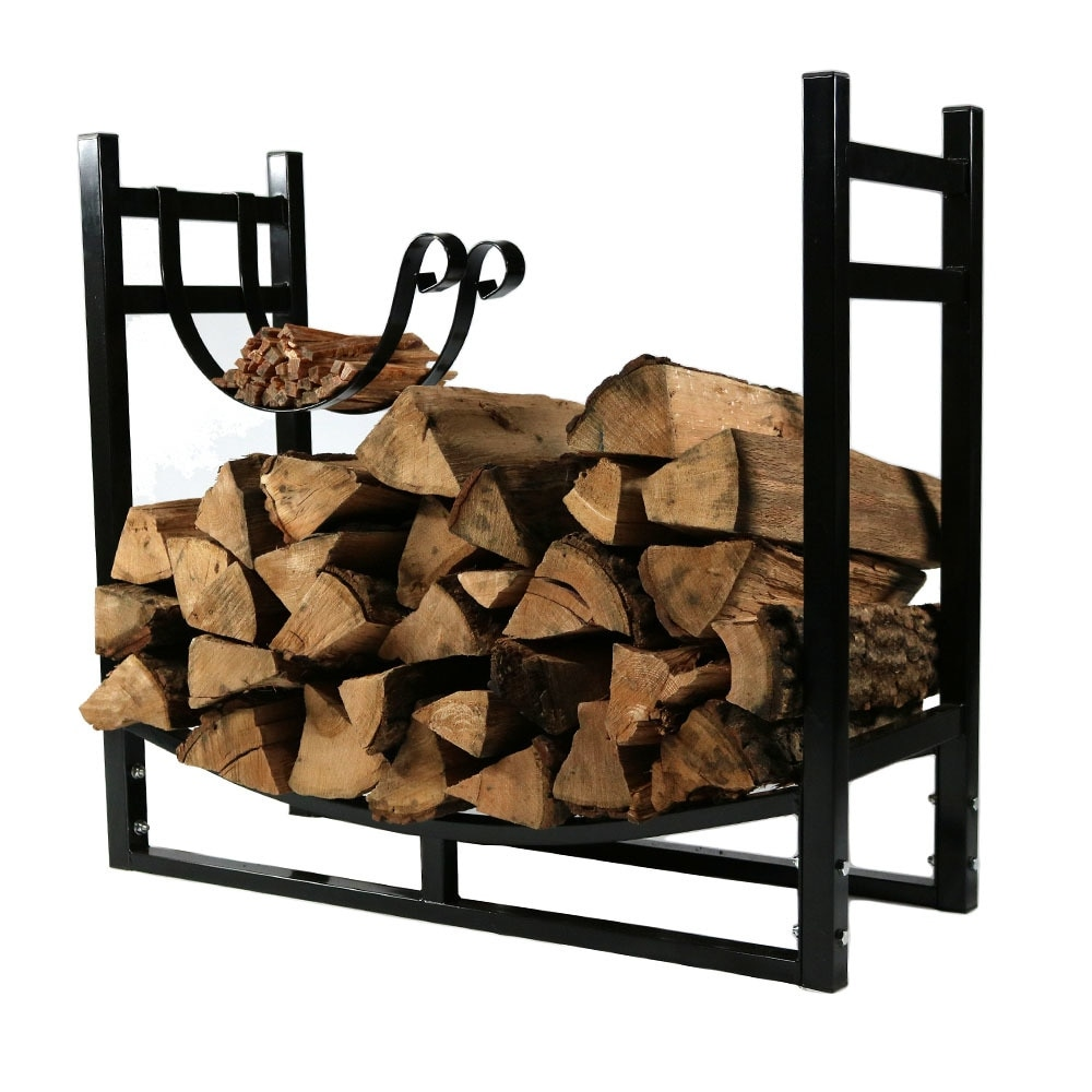 Sunnydaze Indoor/Outdoor Firewood Log Rack with Kindling Holder, 33 Inch Wide x 30 Inch Tall - Black