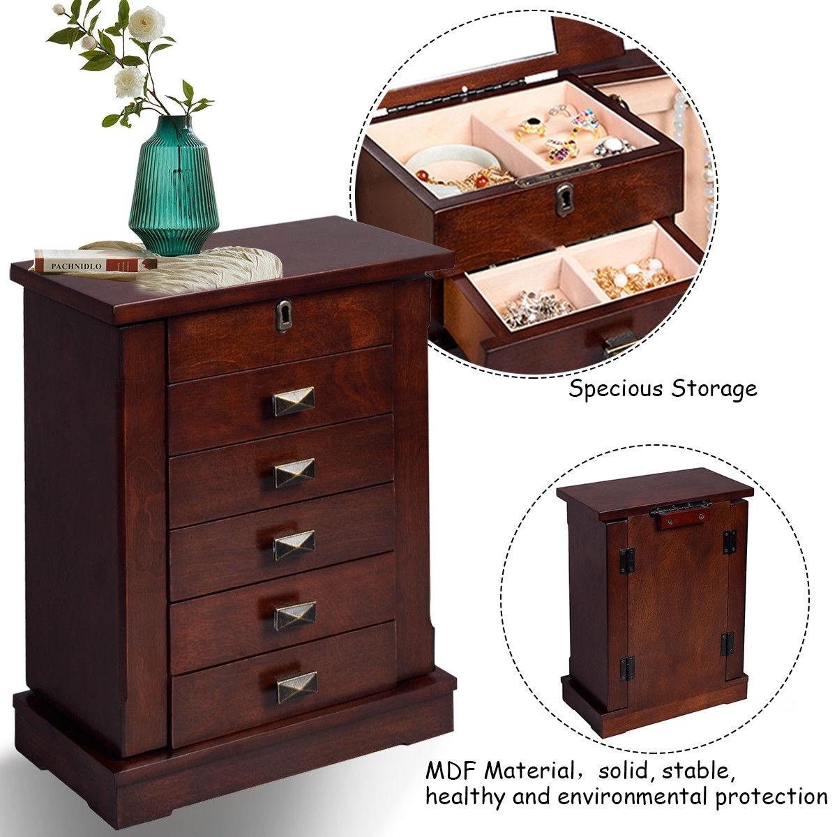 Costway Armoire Jewelry Cabinet Box Storage Chest Stand Organizer