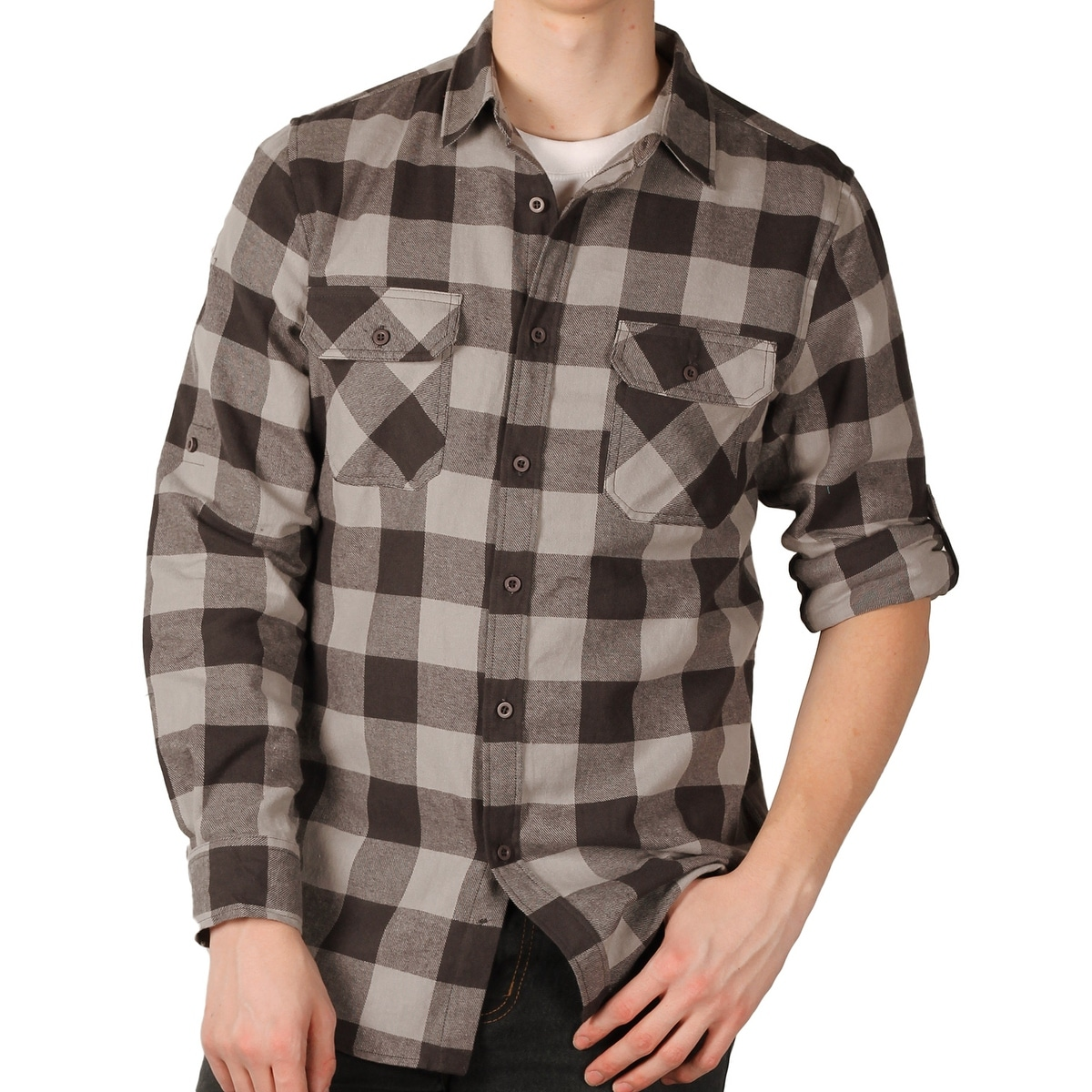 3bb90036 Shop Straight Faded Men's Roll-Sleeve Flannel Shirt - Free Shipping On  Orders Over $45 - Overstock - 14466366