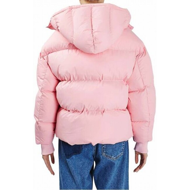 af2dc8152 TopShop NEW Pink Hooded Women's 4 Snap-Front Full-Zip Puffer Jacket