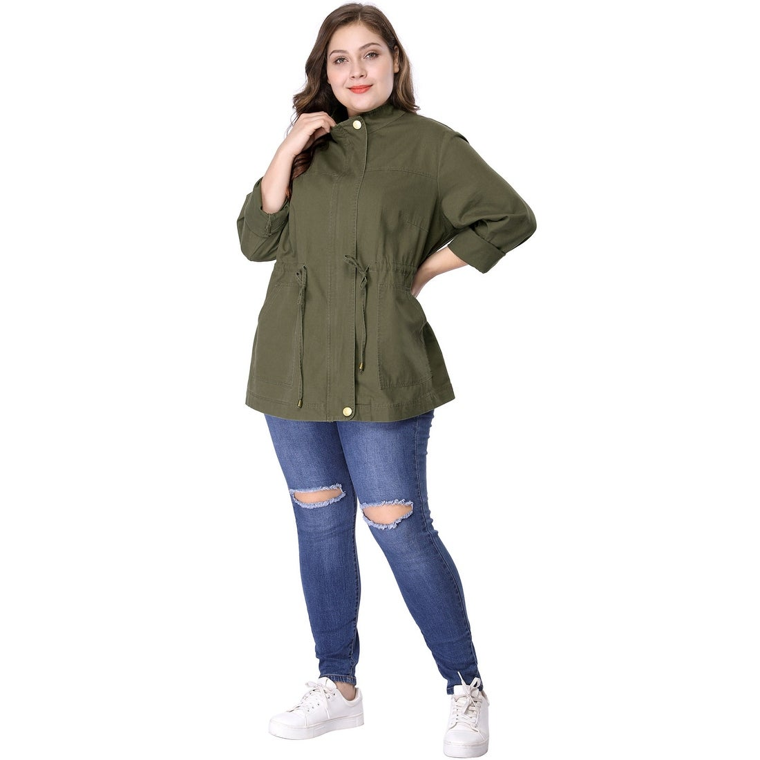 14b7b33cd6d Shop Women s Plus Size Stand Collar Drawstring Utility Jacket - Green - On  Sale - Free Shipping On Orders Over  45 - Overstock.com - 23526950