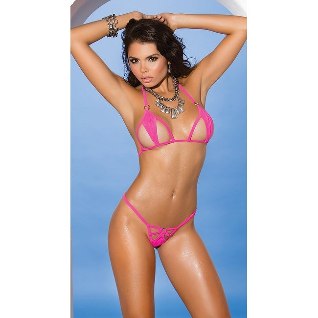 ecfe7963a57 Shop Pink Cut-out Bikini, Micro Bikini - One Size Fits Most - Free Shipping  On Orders Over $45 - Overstock - 18101398