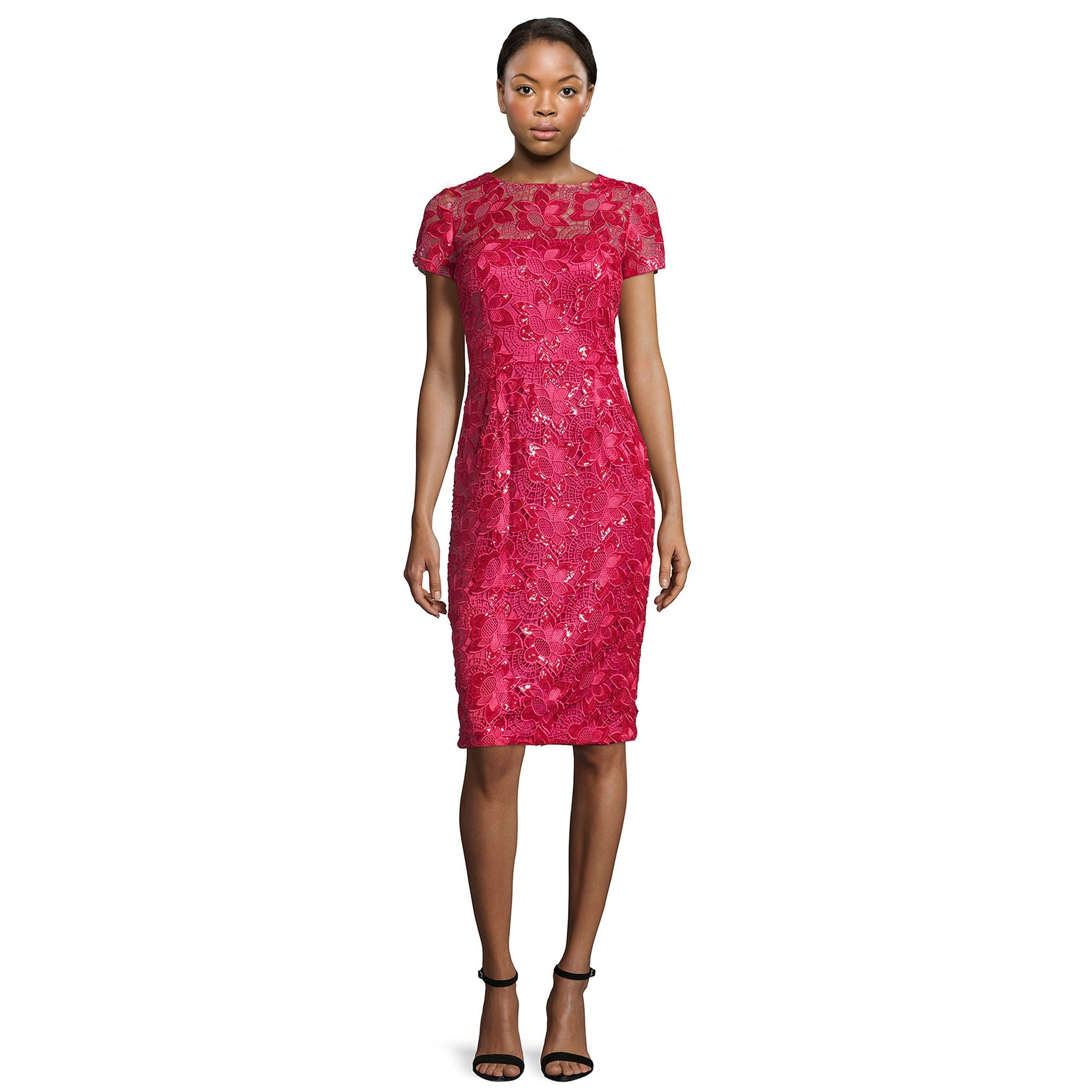 c868a03d176 Short Sleeve Lace Dress Pink - Gomes Weine AG