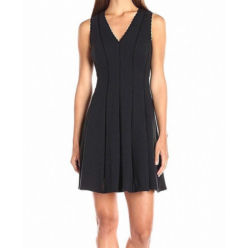 d66478b6 Shop Rebecca Taylor Black Womens Size 2 V-Neck Pleated Sheath Dress ...