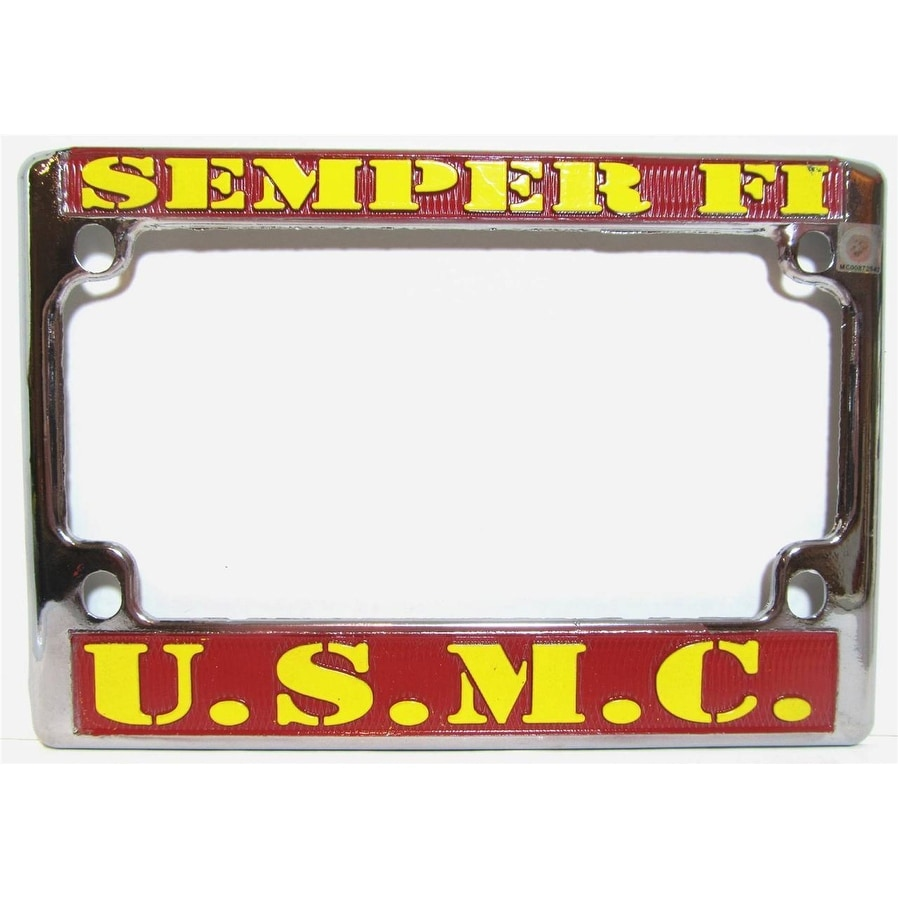 Shop U.S. Marines Chrome Motorcycle License Plate Semper Fi Frame ...