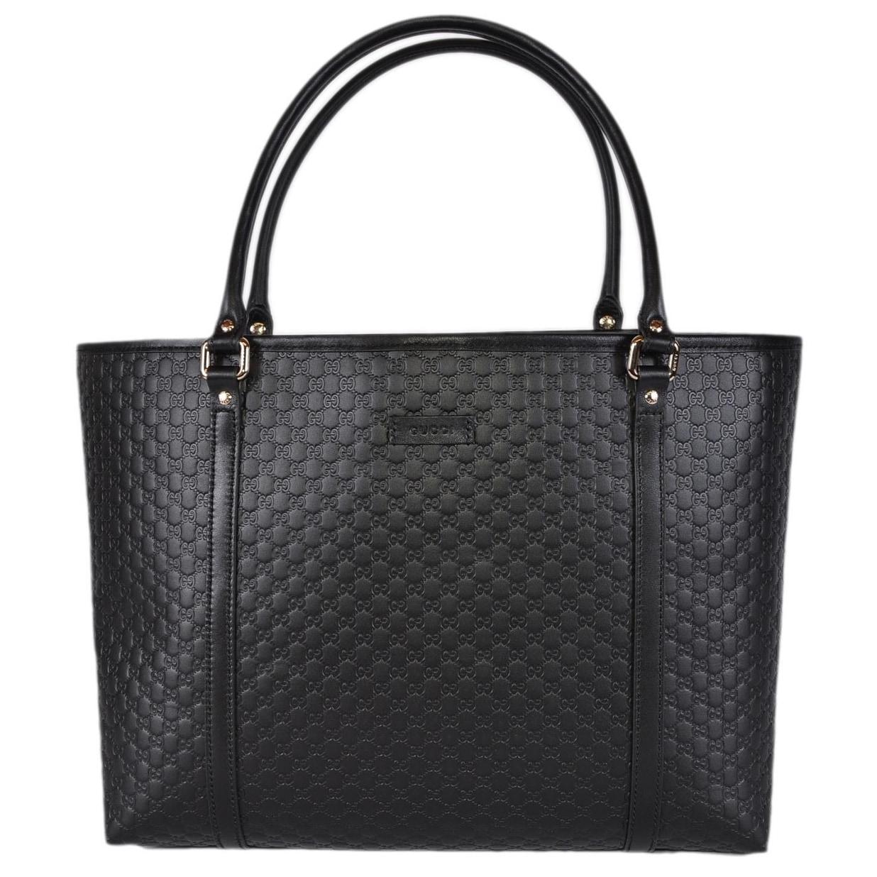 4097a3f9e4a Gucci 449647 Black Leather Micro GG Guccissima Joy Purse Handbag Tote