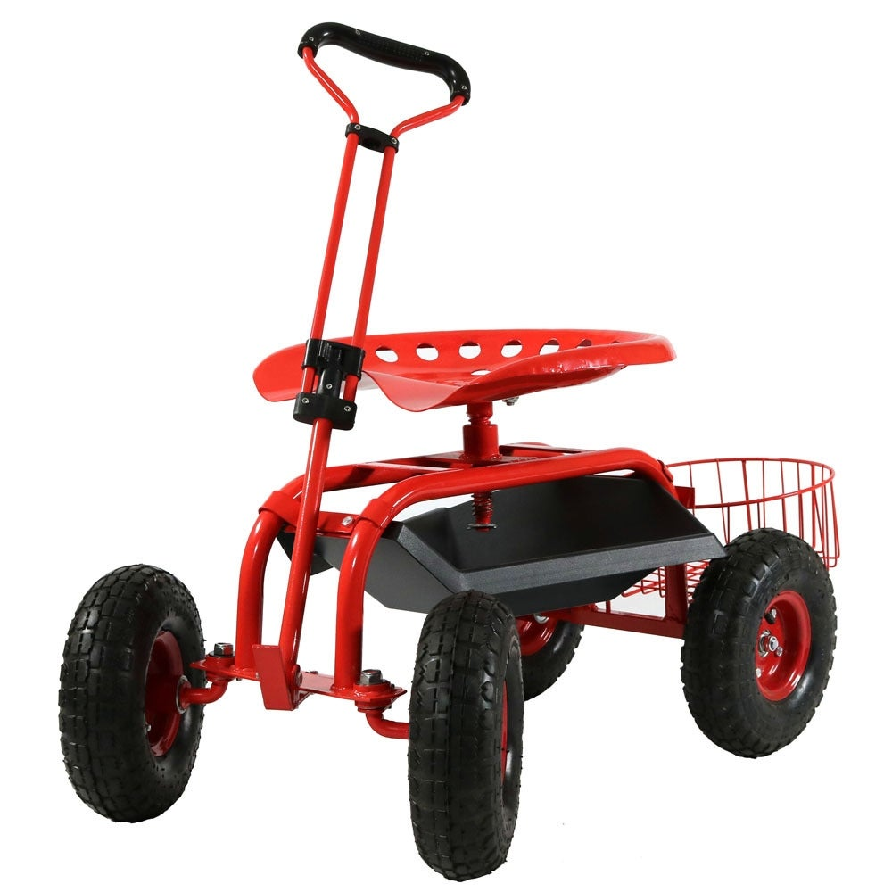 Sunnydaze Rolling Garden Cart with Extendable Steering Handle - Multiple Colors