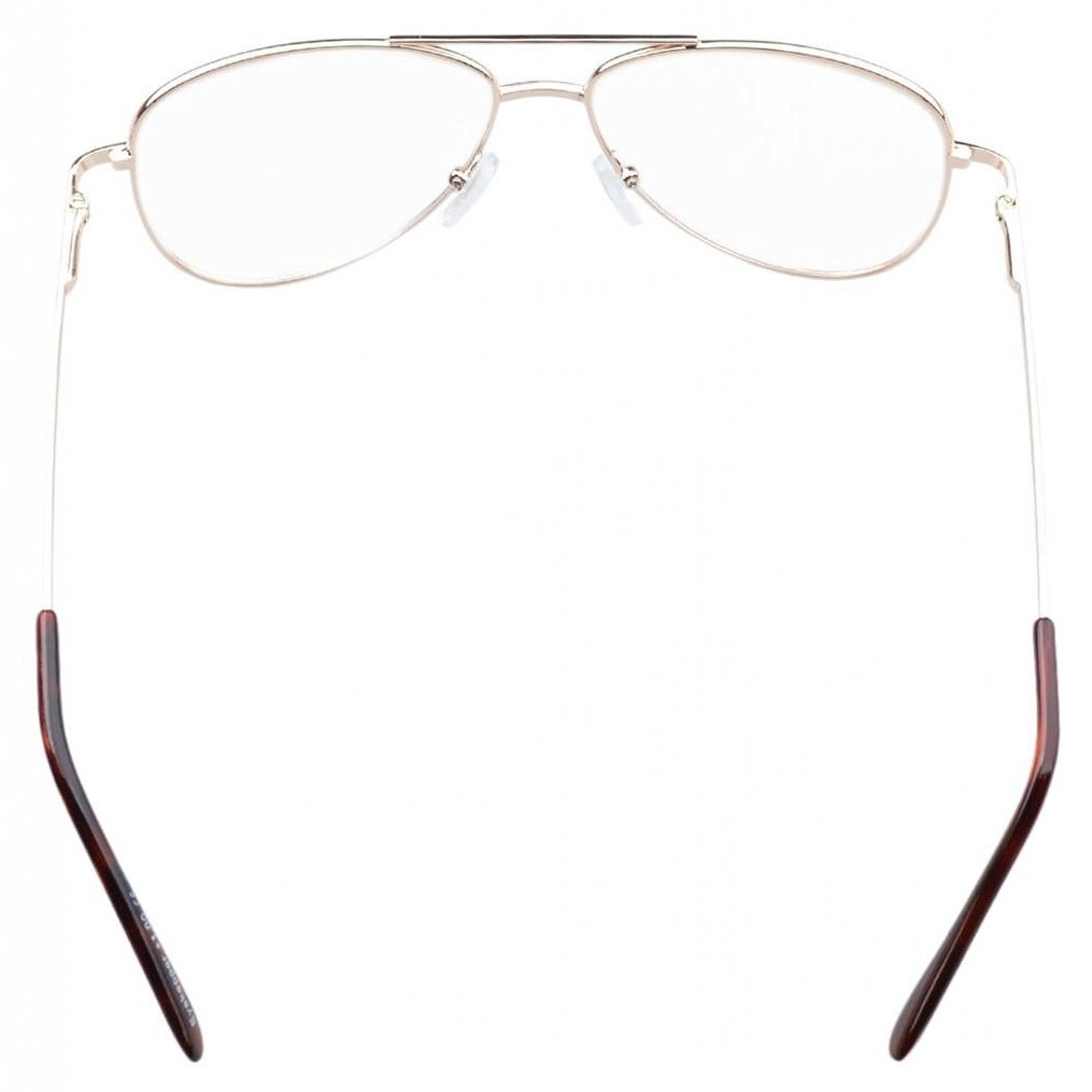684eb2a8f0 Shop Eyekepper Pilot Style Metal Frame Spring Hinges Reading Glasses Gold  +2.0 - +2.00 - Free Shipping On Orders Over  45 - Overstock.com - 15894125