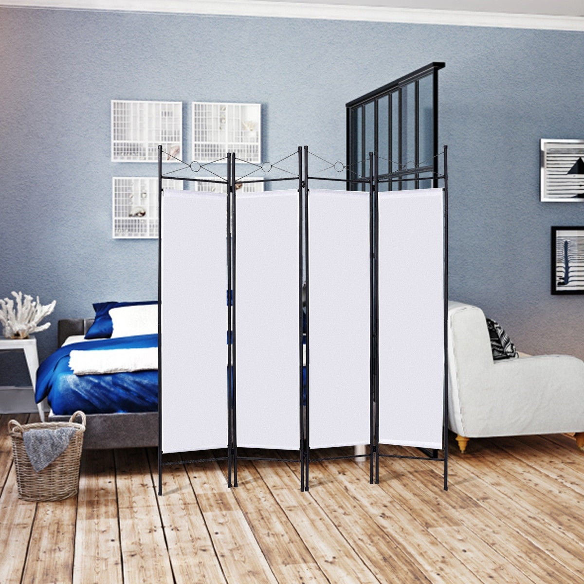 Shop Costway White 4 Panel Room Divider Privacy Screen Home Office ...