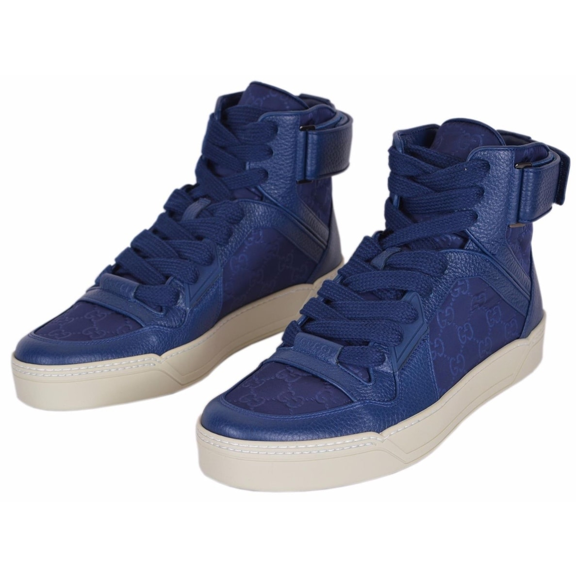 26b9f47fa Shop Gucci Men's Blue Nylon GG Guccissima High Top Sneakers Trainers Shoes  8 - Free Shipping Today - Overstock - 19475337