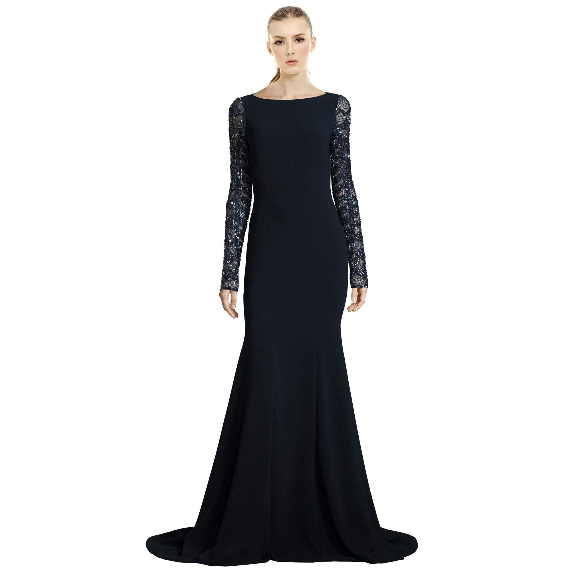 Shop Theia Sequined Long Sleeve Mermaid Evening Gown Dress Midnight ...