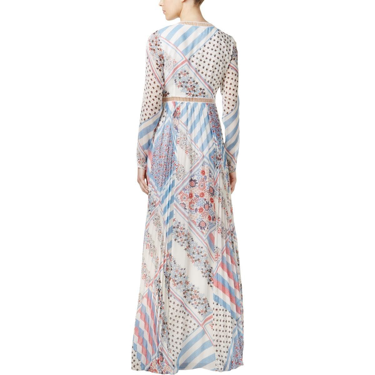 Shop Tommy Hilfiger Womens Maxi Dress Star-Printed Crochet Trim - 10 ...