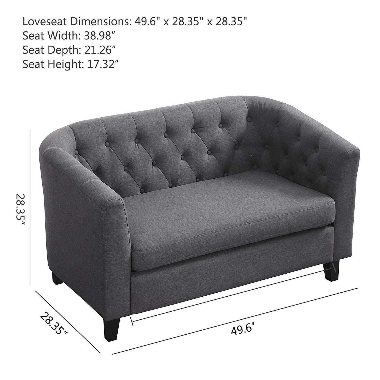 Shop Linen Fabric Sofa Bed Upholstered Modern Tufted Loveseat ...