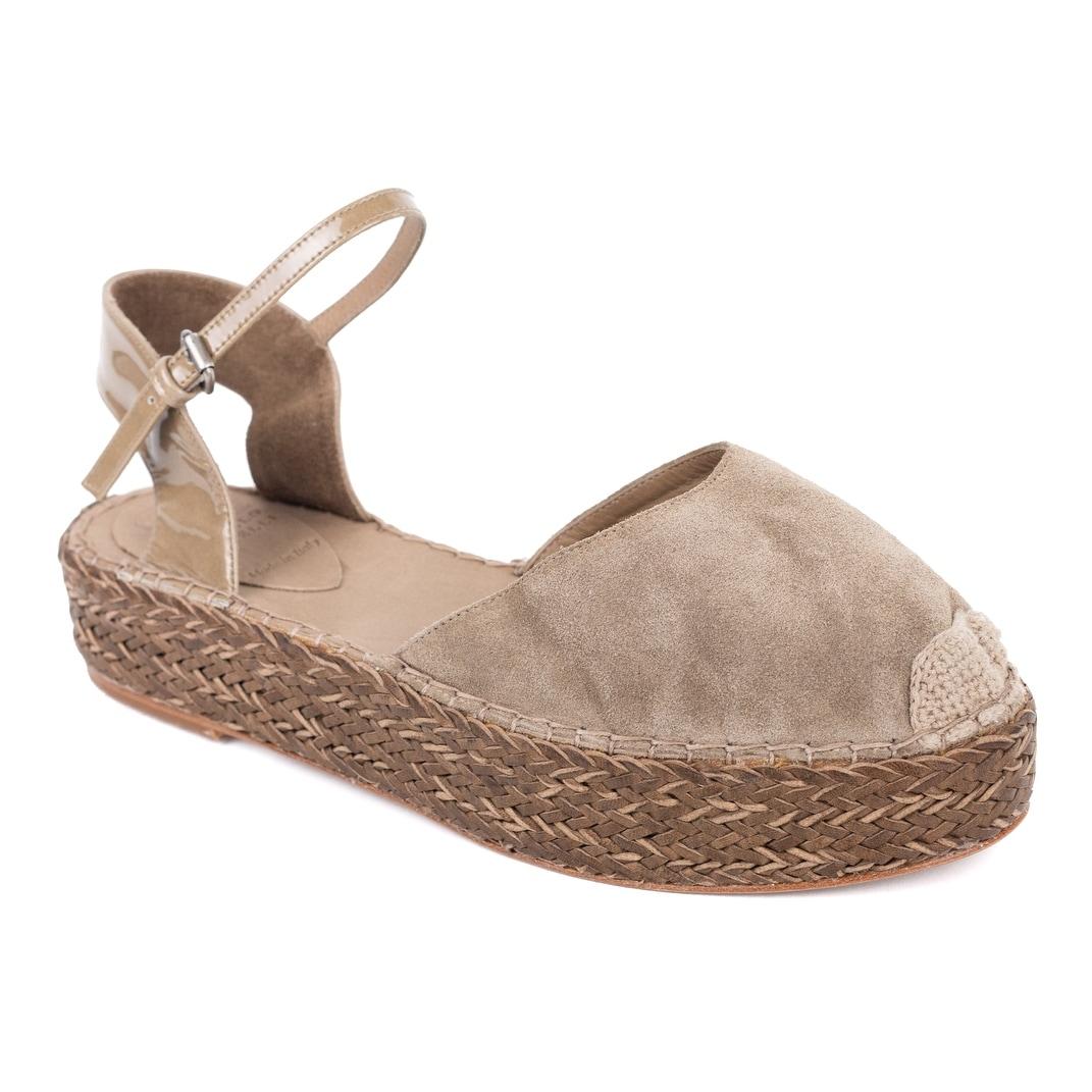1ec8c4e536696 Shop Brunello Cucinelli Womens Grey Platform Ankle Strap Espadrilles ...