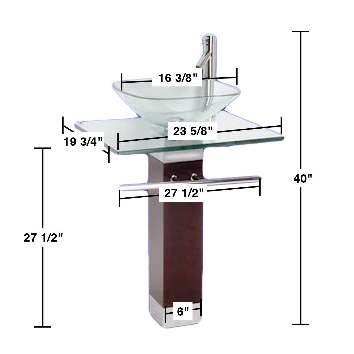 Shop Tempered Glass Pedestal Sink Chrome Faucet Towel Bar And Drain Combo    Free Shipping Today   Overstock.com   12636380