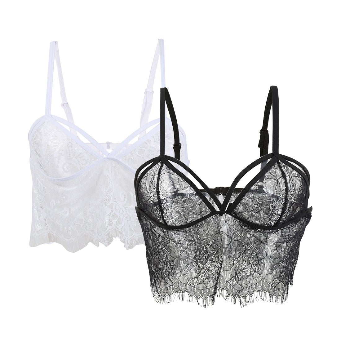 d129deb2f0271 Shop Women 2 Pack Floral Sheer Full Lace Bralette Crop Top Cami Bra - On  Sale - Free Shipping On Orders Over  45 - Overstock - 23559018