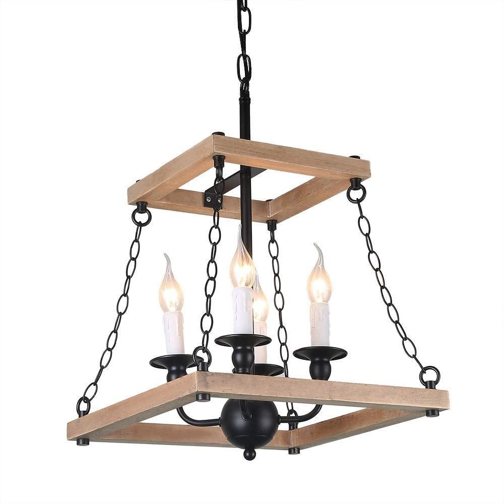 4 Light Vintage Island Pendant Fixture Wood Candle Lamp Black
