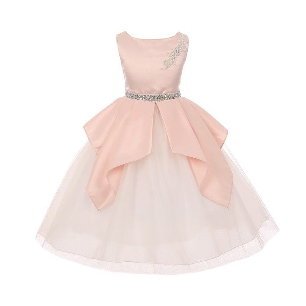 Girls Blush Waterfall Satin Pleats Tulle Easter Junior Bridesmaid ...