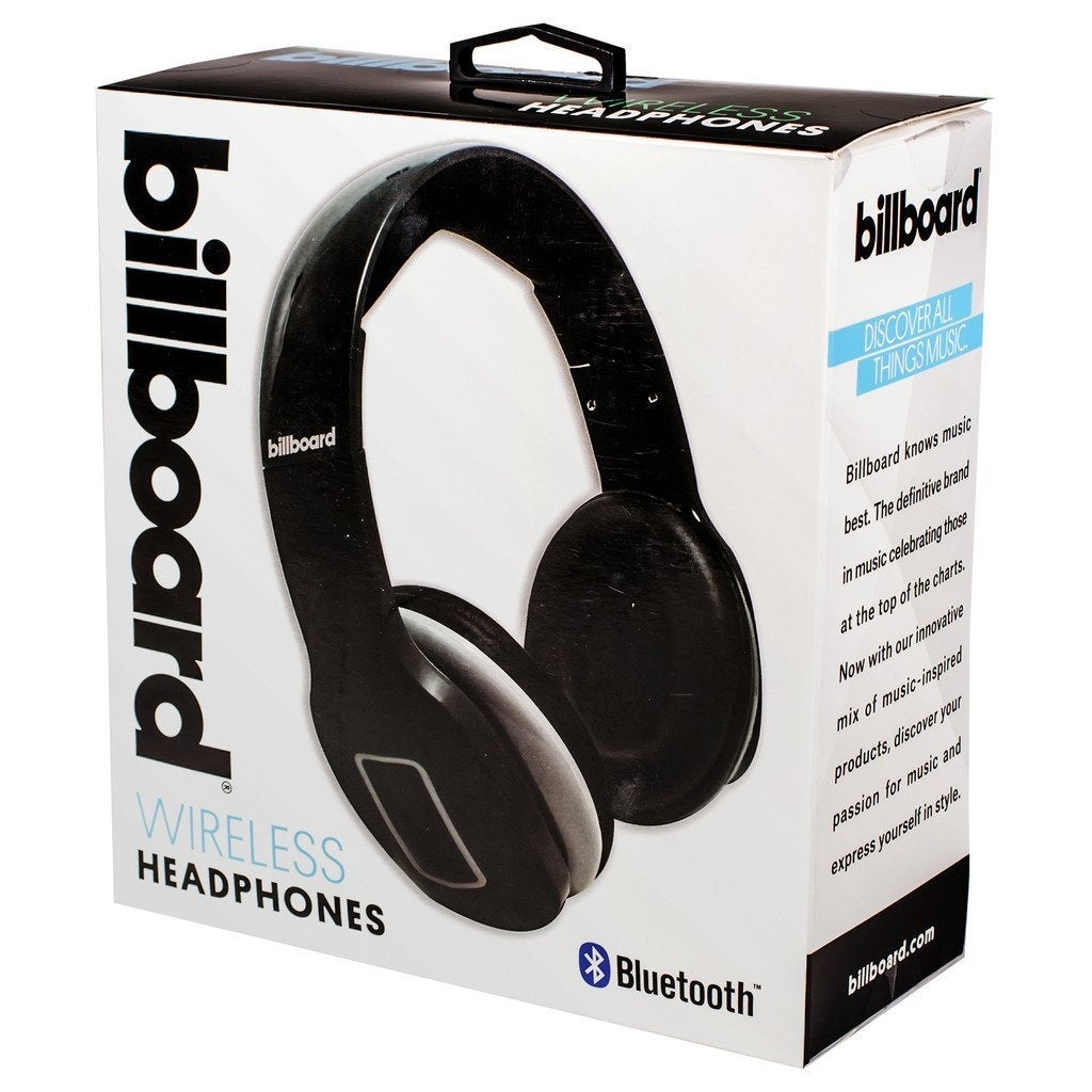 Billboard Bluetooth Wireless Folding Headphones With Enhanced Bass,  Controls, and Microphone - Black - 7 10 x 7 02 x 3