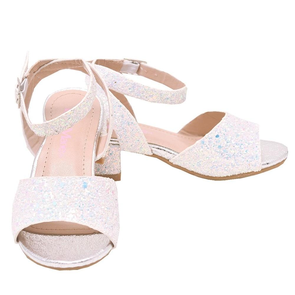 fe7410b46515be Shop Bella Marie Little Girls Silver Glitter Block Low Heel Sandals - Free  Shipping On Orders Over  45 - Overstock - 23088176