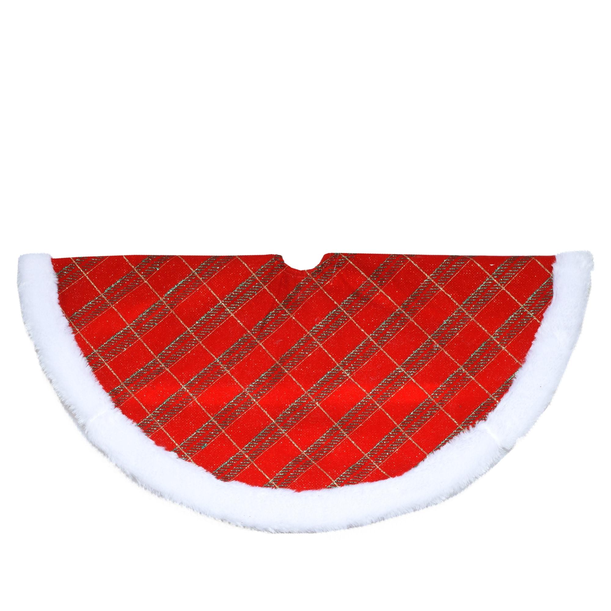 Mini Christmas Tree Skirt Pattern.20 Red Green And Gold Glittered Mini Christmas Tree Skirt With Faux Fur Border