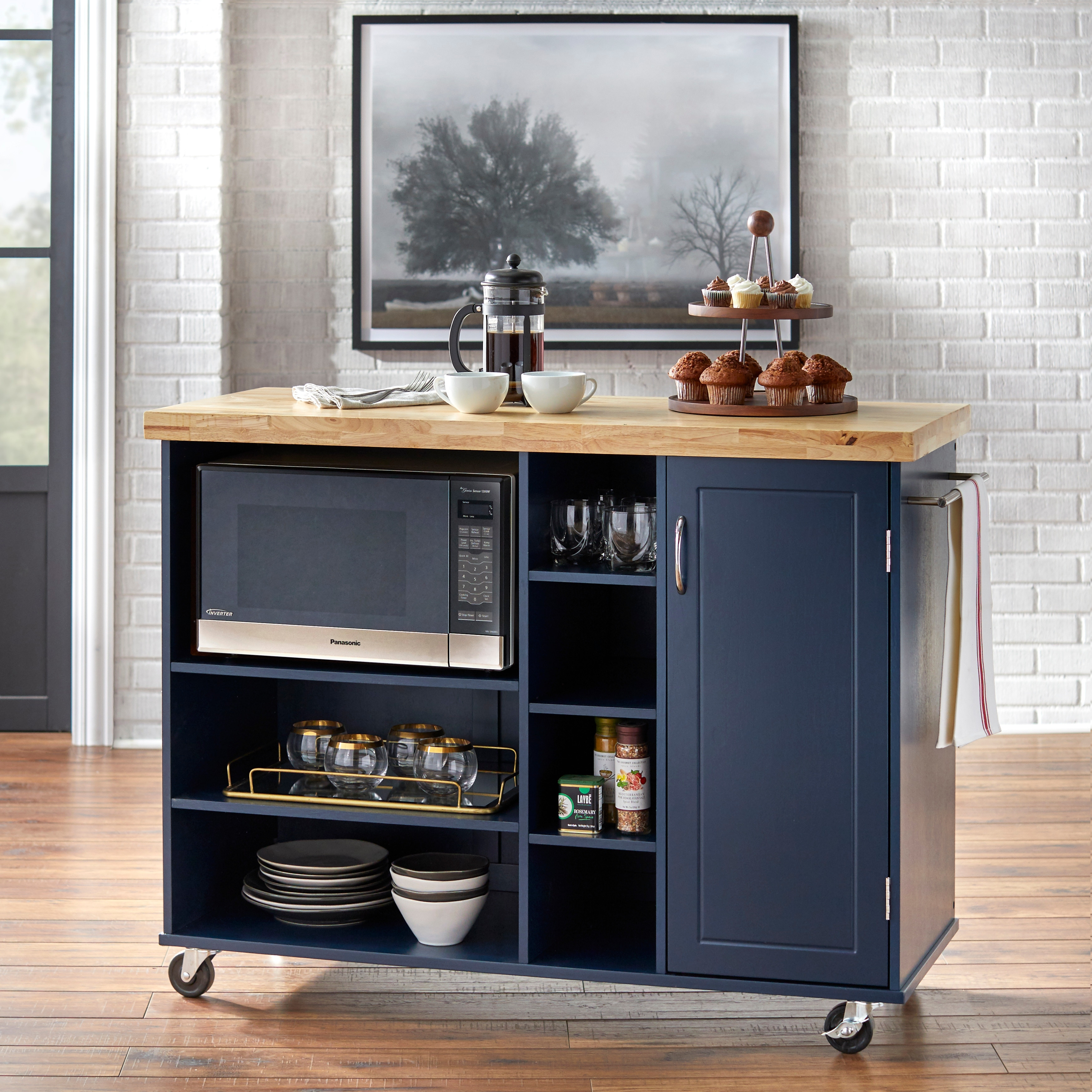 Simple Living Rolling Galvin Microwave Storage Cart On Sale Overstock 18848623