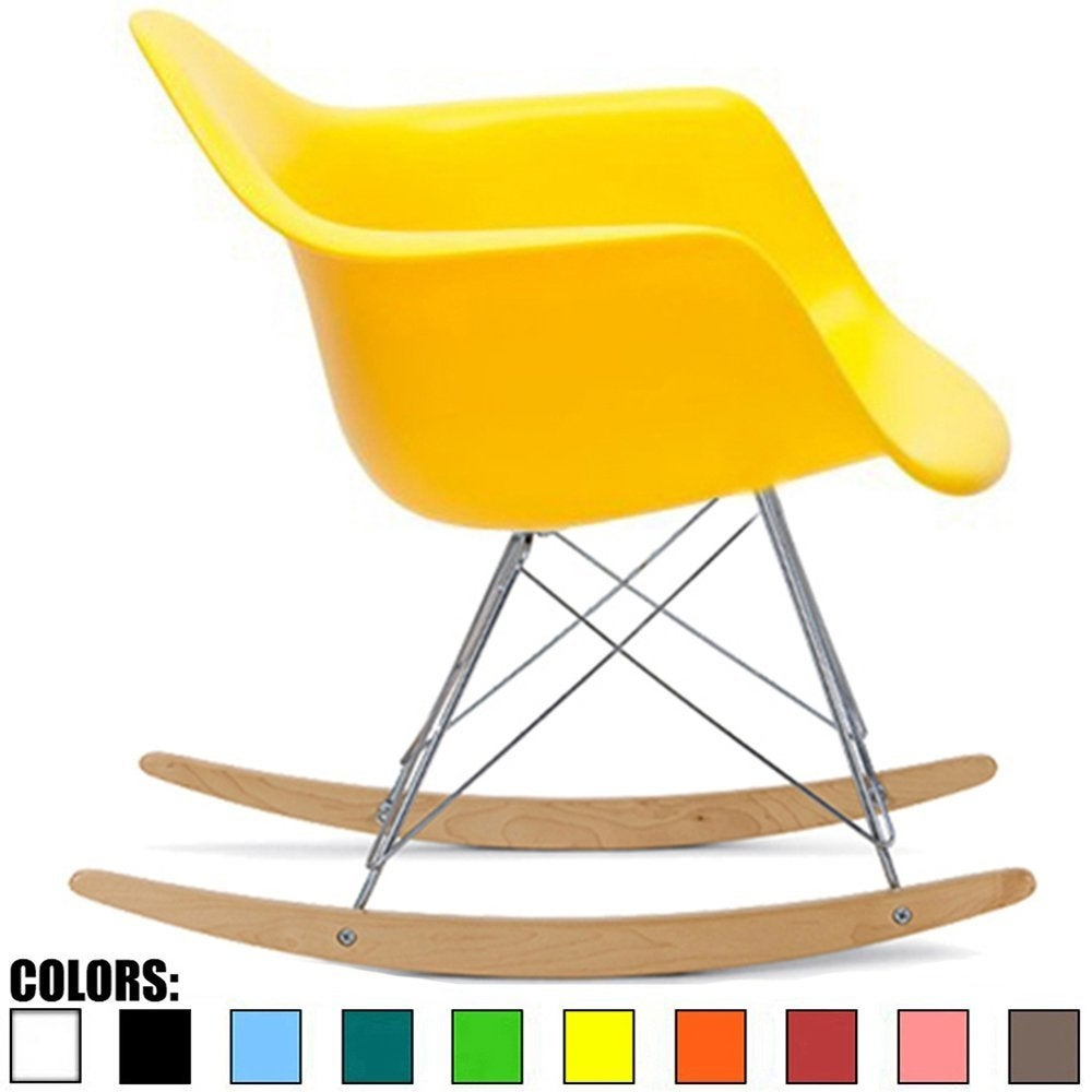 Shop 2xhome Yellow Vintage Natural Wood Metal Wire Plastic Rocker Chair  Rocking For Bedroom Living Room With Arms Back   Free Shipping Today    Overstock.com ...