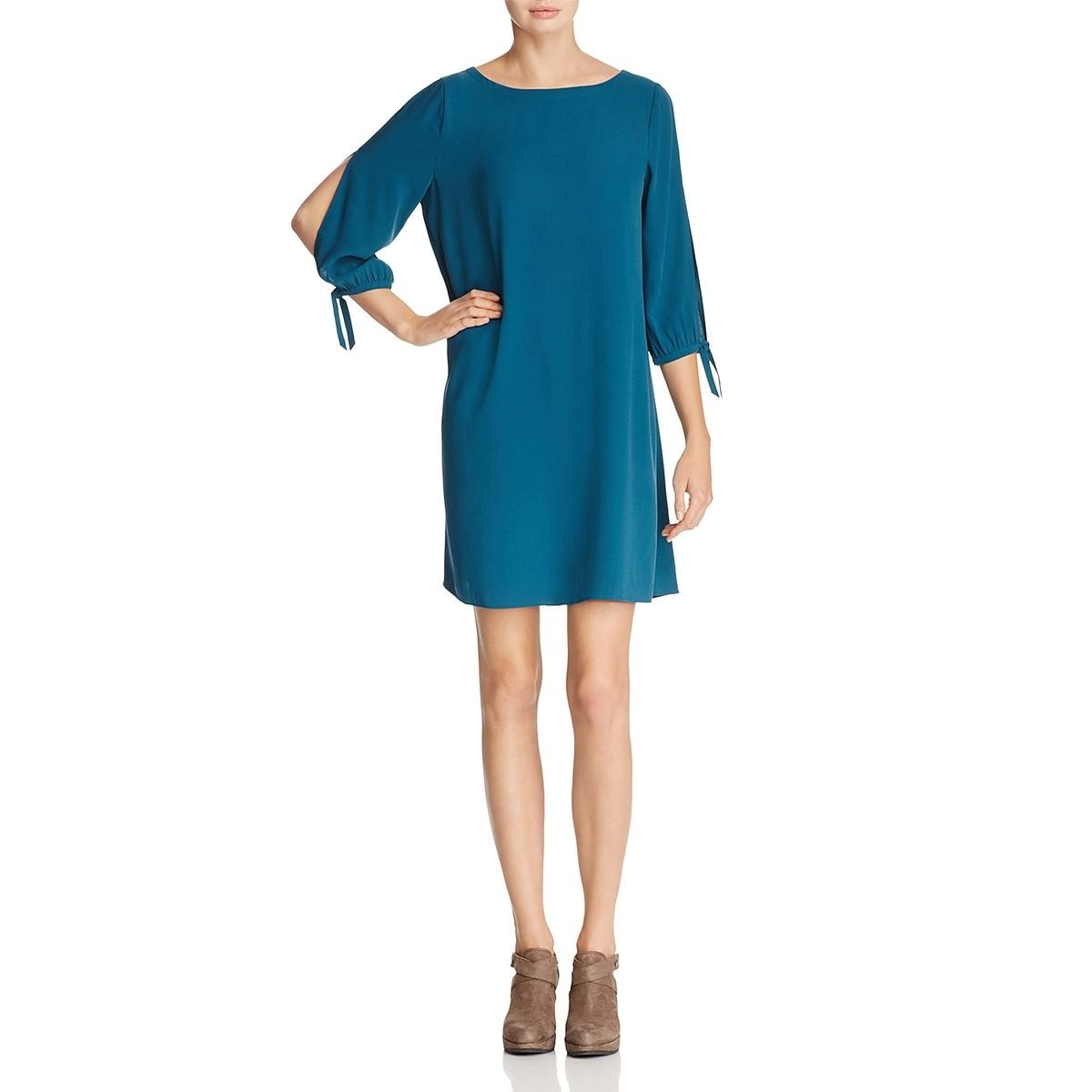 dc473395ad7 Shop Eileen Fisher Womens Petites Casual Dress Silk Bateau Neck ...