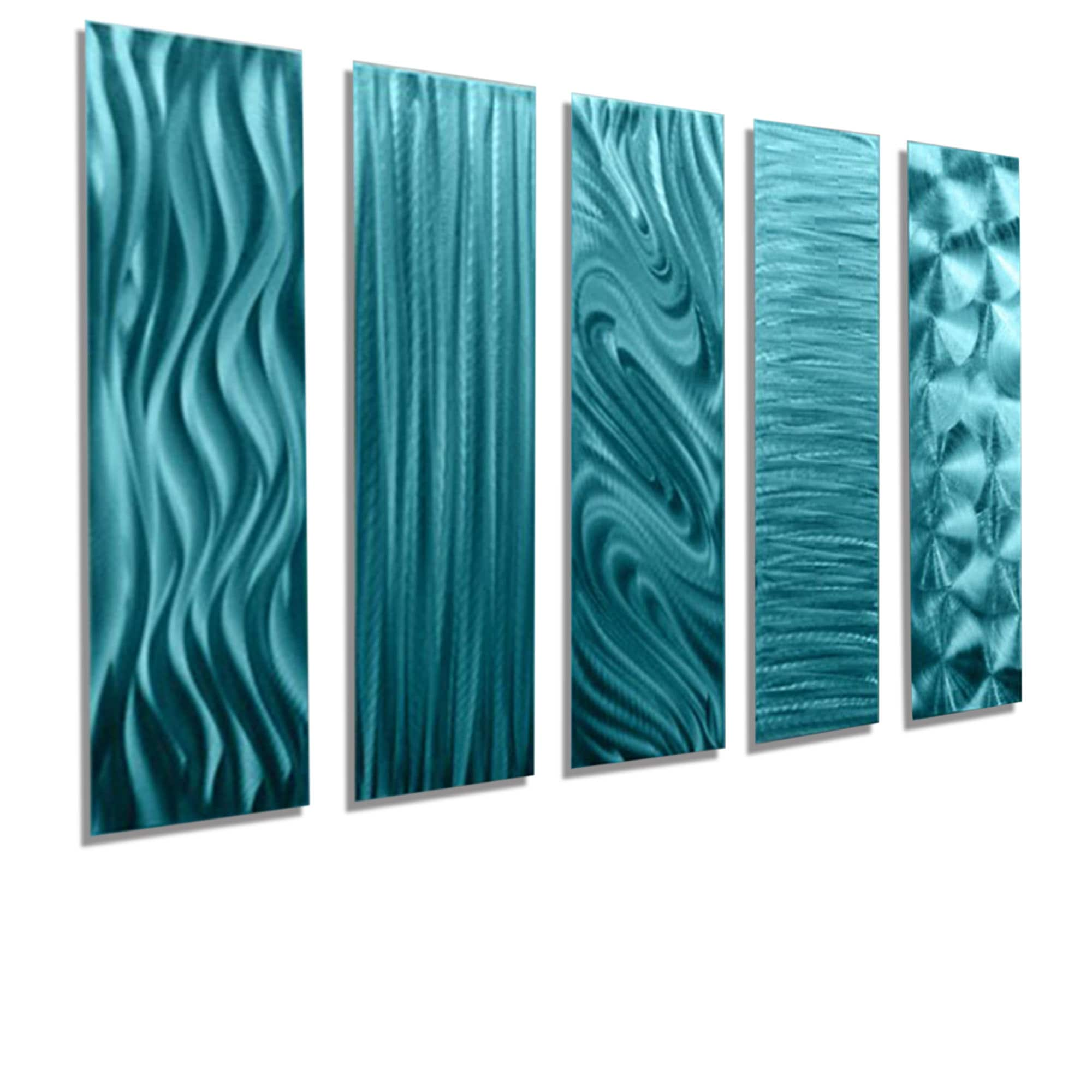 Blue Metal Wall Art Extraordinary Statements2000 Set Of 5 Aqua Blue Metal Wall Art Accentsjon Inspiration Design
