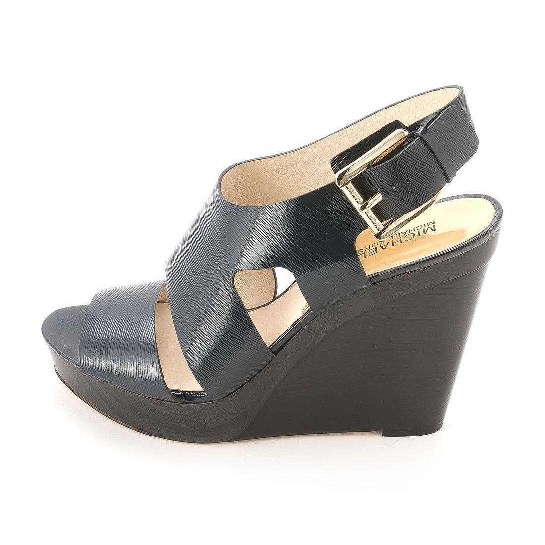 f939a0eb3ff Shop MICHAEL Michael Kors Women s Carla Platform Wedge Sandals - Free  Shipping Today - Overstock - 14537433