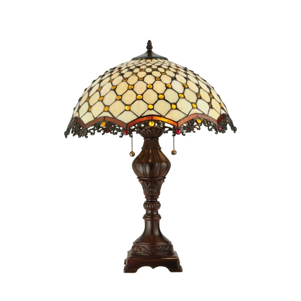 Shop Meyda Tiffany 124834 Diamond Jewel 2 Light 24 Tall Hand Crafted Table Lamp With Stained Glass