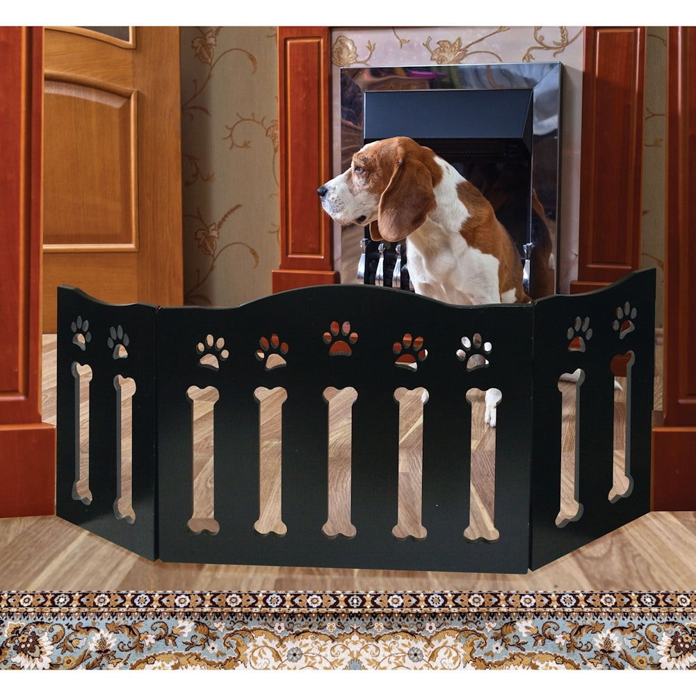shop wooden paws and bones pet dog gate free standing tri fold