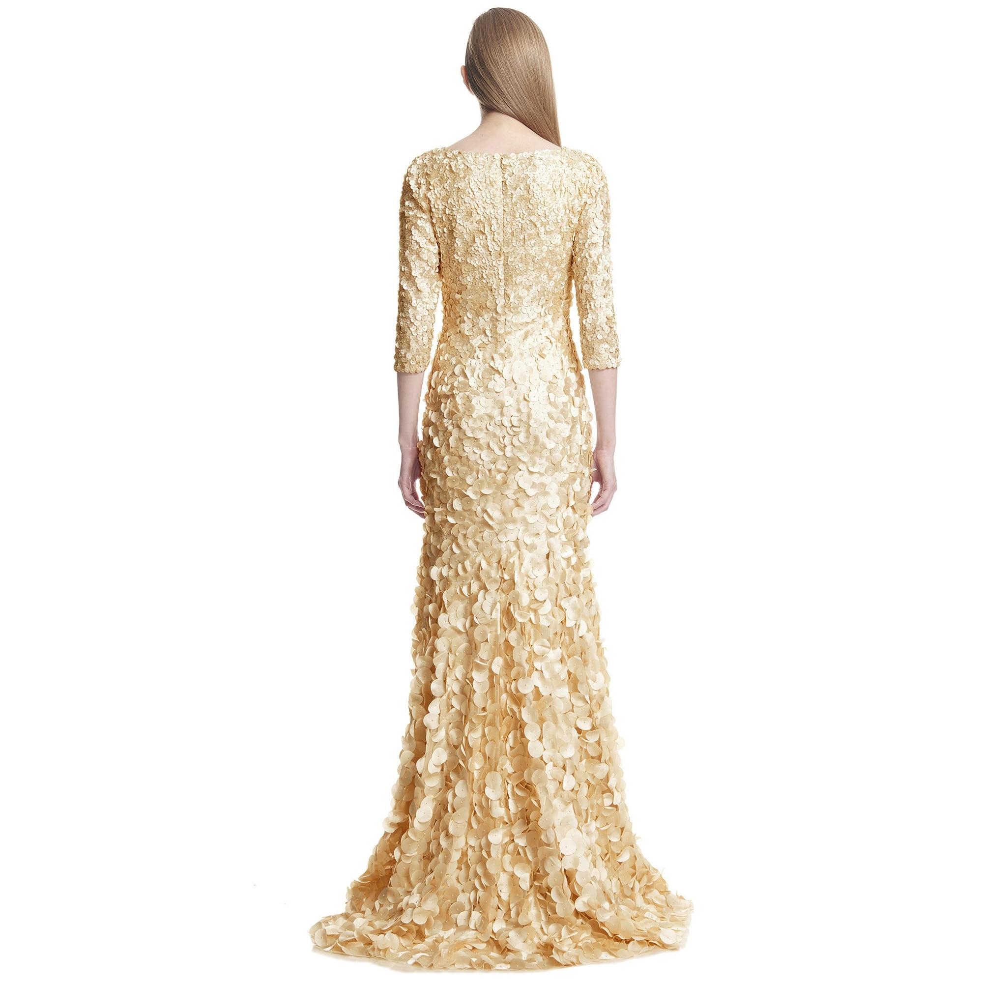 Shop Theia 3/4 Sleeve V-Neck Petal Embellished Evening Gown Dress ...