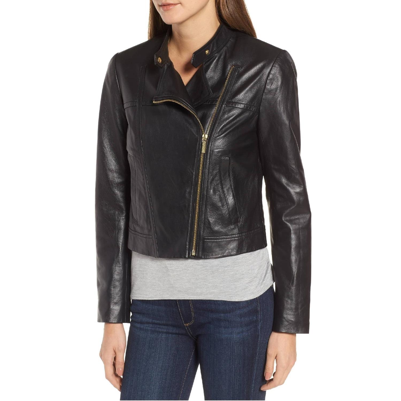 79e330523 MICHAEL Michael Kors Leather Cropped Moto Jacket Black/Gold