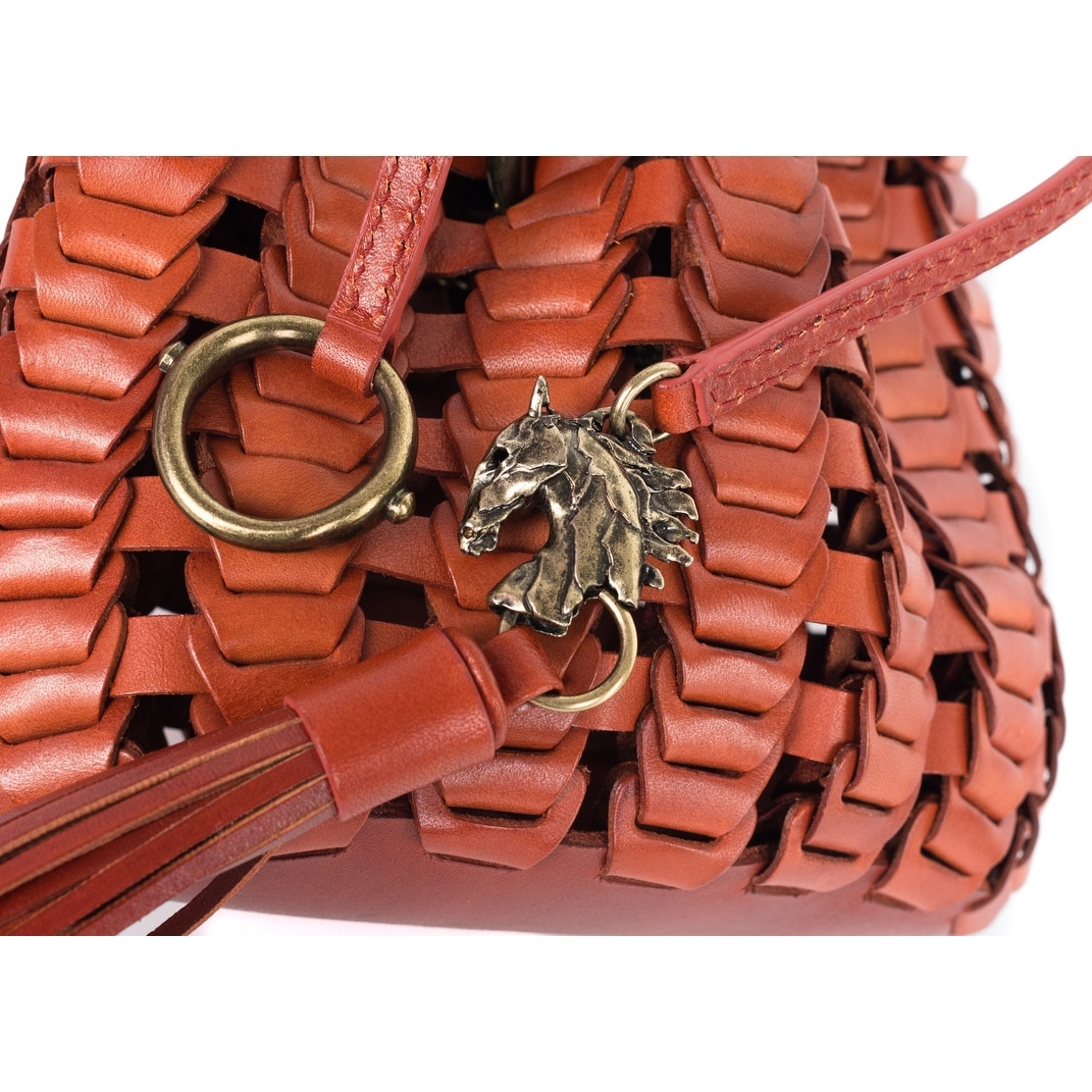 Roberto Cavalli Copper Orange Leather Tassel Bucket Bag 3sXQYBHd5G