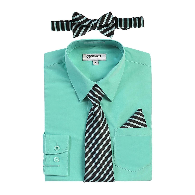 Shop Gioberti Little Boys Mint Shirt Necktie Bow Tie Pocket Square 4