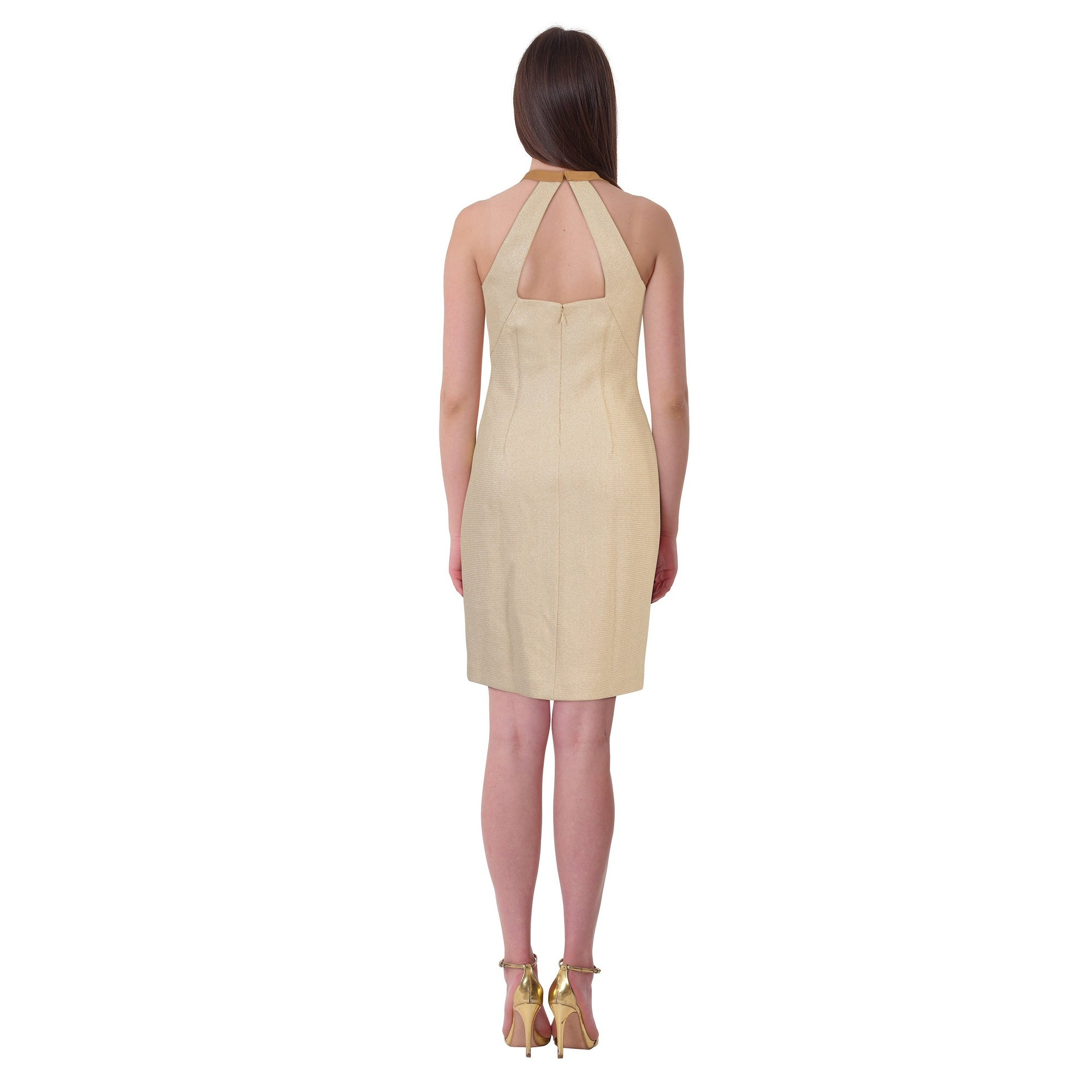 355109a47cc6 Shop Lauren Ralph Lauren Leather Trim Cutout Back Halter Cocktail Day Dress  Beige - Free Shipping Today - Overstock.com - 19218426